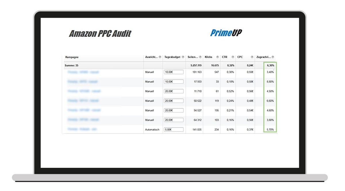 Laptop mit Amazon PPC Grafik zu den Punkten: Kampagne, Ausrichtung, Tagesbudget, Seiten, Klicks, CTR, CPC