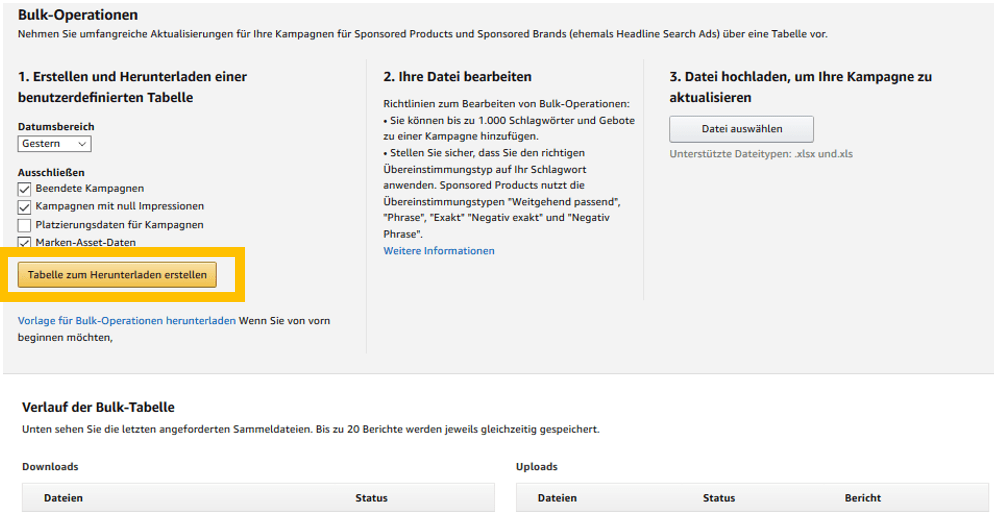 Bild von Bulk-Operationen bei Amazon PPC Kampagnen