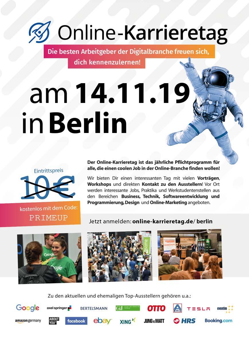 Flyer für den Online Karrieretag in Berlin 14.11.2019